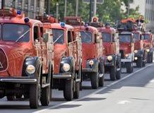 Vecchie automobili di salvataggio del fuoco Fotografie Stock