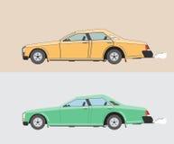 Vecchie automobili, giallo e verde illustrazione vettoriale