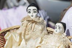 Vecchie bambole di pierrot della porcellana per la raccolta Fotografia Stock Libera da Diritti