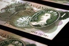 Vecchie banconote britanniche Fotografia Stock