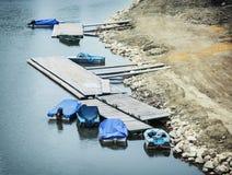 Vecchie barche blu Fotografia Stock