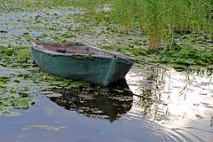 Vecchie barche di fila su un lago Immagini Stock