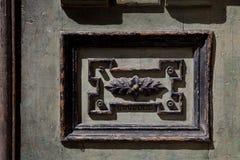 Vecchie belle porte di legno scolpite Fotografia Stock