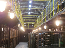 Vecchie bottiglie di vino nelle file in cantina Le file di molti vino imbottiglia lo stoccaggio della cantina della cantina Bella Fotografia Stock