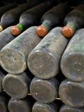 Vecchie bottiglie polverose di vino piene Fotografie Stock