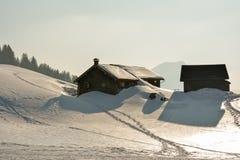 Vecchie capanne di legno in svizzeri Fotografia Stock