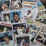 Vecchie carte di baseball Immagini Stock