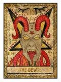 Vecchie carte di tarocchi Piattaforma piena Il diavolo Fotografia Stock Libera da Diritti