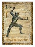 Vecchie carte di tarocchi Piattaforma piena Pagina delle spade illustrazione di stock
