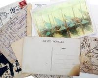 Vecchie cartoline d'annata fotografie stock libere da diritti
