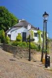 Vecchie casa e lanterna in Knaresborough, Inghilterra Immagine Stock Libera da Diritti
