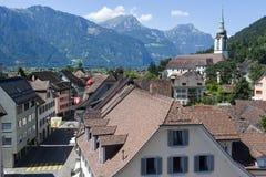 Vecchie case a Altdorf nel Cantone di Uri Fotografie Stock