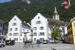 Vecchie case a Altdorf nel Cantone di Uri, Svizzera Fotografia Stock Libera da Diritti