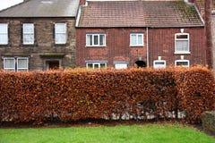 Vecchie case con mattoni a vista inglesi di stile con erba e le piante fotografie stock libere da diritti