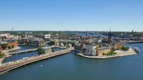 Vecchie case, costruzioni e vie, Stoccolma video d archivio