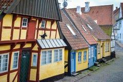 Vecchie case danesi curvate Fotografia Stock