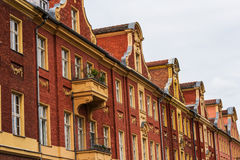 Vecchie case del timpano del mattone a Potsdam, Germania fotografia stock