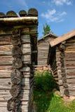 Vecchie case di ceppo Fotografia Stock