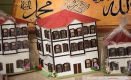 Vecchie case di modello disegnate nella via Fotografia Stock Libera da Diritti