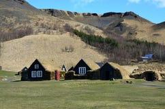 Vecchie case islandesi rurali tipiche Fotografie Stock