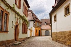 Vecchie case nel centro urbano di Bamberga della Germania Fotografia Stock