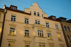 Vecchie case nella città di Monaco di Baviera, sendling Fotografie Stock