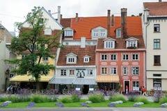 Vecchie case a Riga Immagini Stock