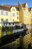Vecchie case romantiche a Colmar, l'Alsazia, Francia fotografia stock