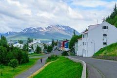 Vecchie case tipiche, in Akureyri Fotografia Stock