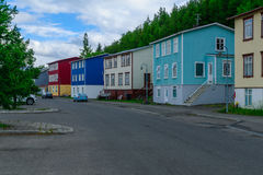 Vecchie case tipiche, in Akureyri Immagine Stock