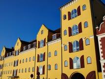 Vecchie case tradizionali variopinte Danimarca Immagini Stock