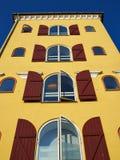 Vecchie case tradizionali variopinte Danimarca Fotografie Stock