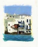 Vecchie case vicino al mare sull'isola di Mykonos 2 Immagine Stock Libera da Diritti