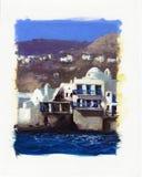 Vecchie case vicino al mare sull'isola di Mykonos Fotografie Stock
