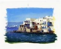 Vecchie case vicino al mare sull'isola di Mykonos 3 Fotografia Stock