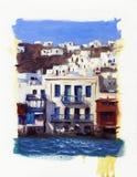 Vecchie case vicino al mare sull'isola di Mykonos 5 Immagine Stock