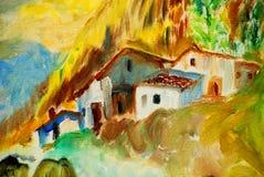 Vecchie case in villaggio spagnolo, dipingente Immagine Stock