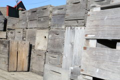 Vecchie casse di legno della mela dell'annata Fotografia Stock