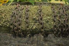 Vecchie catene nel pozzo ragno web Fotografia Stock