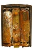 Vecchie cellule di batteria corrose Immagine Stock Libera da Diritti