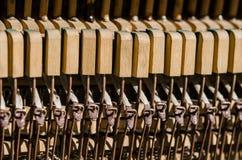 Vecchie chiavi di legno del piano nell'ambito dei raggi del Sun fotografia stock libera da diritti