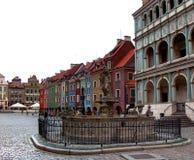 Vecchie città di Poznan e fontana di proserpina Fotografia Stock