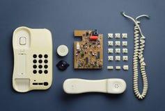 Vecchie componenti domestiche del telefono Fotografie Stock Libere da Diritti