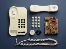 Vecchie componenti domestiche del telefono Fotografia Stock Libera da Diritti