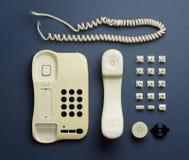 Vecchie componenti domestiche del telefono Immagini Stock