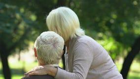 Vecchie coppie che baciano e che guardano i loro nipoti giocare nel parco, vista posteriore video d archivio