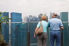 Vecchie coppie che osservano paesaggio urbano Immagine Stock Libera da Diritti