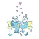Vecchie coppie nell'amore Fotografia Stock Libera da Diritti