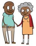 Vecchie coppie nere felici Immagine Stock