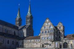 Vecchie corte e cattedrale a Bamberga, Franconia, Germania Fotografia Stock Libera da Diritti
